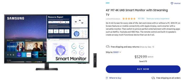 Samsung 43 Inch M7 Series UHD Smart Monitor Deal