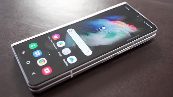 Samsung Galaxy Fold 3 laying down screen on