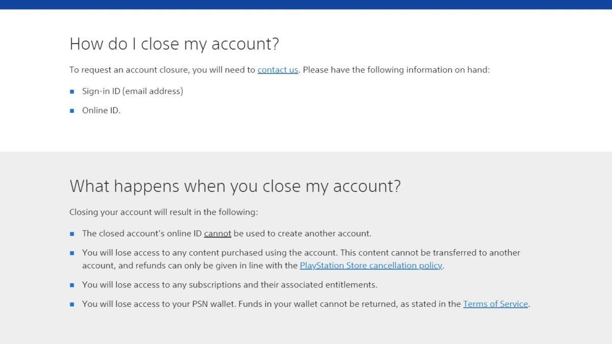 Страница поддержки закрытия учетной записи Sony