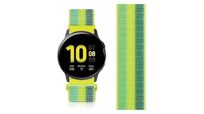 Product shot of an Avod nylon watch band in Pollen Yellow.