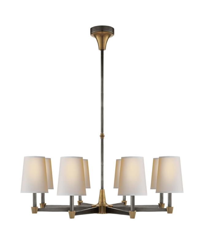 Shown In Bronze With Antique Brass Finish And Natural Paper Shade