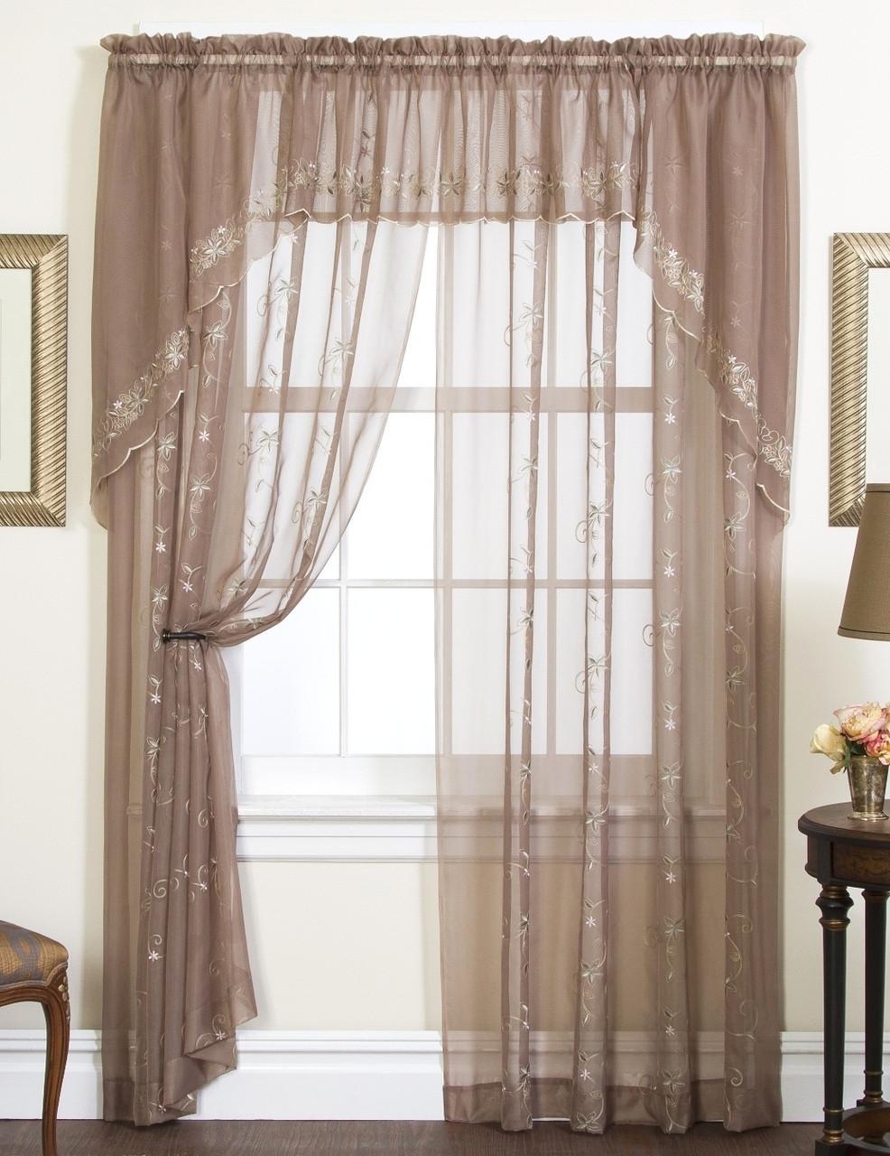 Emelia Embroidered Sheer Curtain Panel 63 Long White