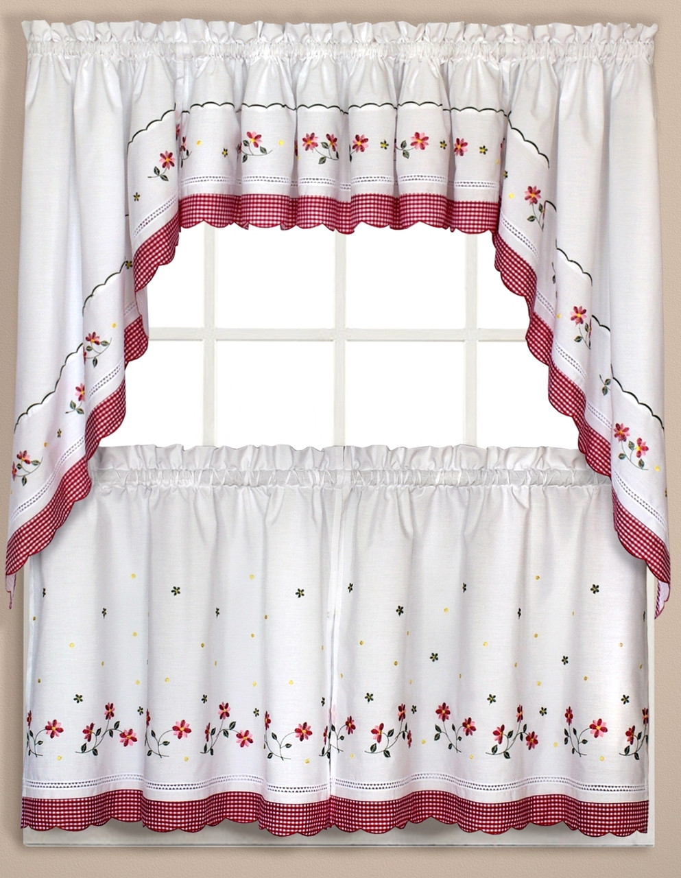 Gingham Floral Kitchen Curtain Red