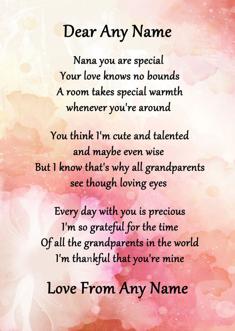 Pink Floral Nana You Are Special Personalised Poem Certificate The Card Zoo