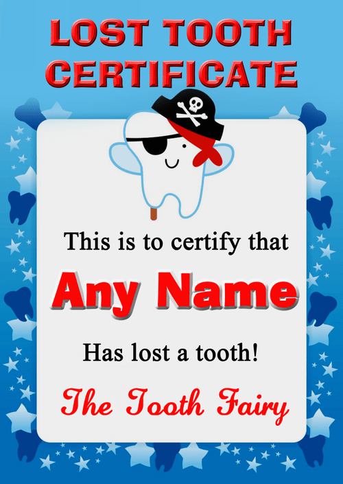 Blue Lost Tooth Fairy Award Certificate The Card Zoo