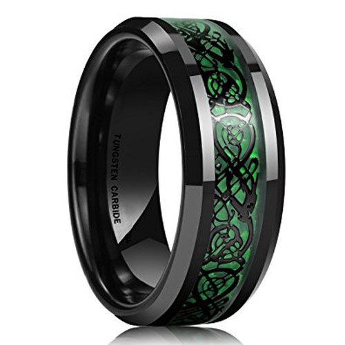 8mm Unisex Or Mens Tungsten Wedding Band Black And