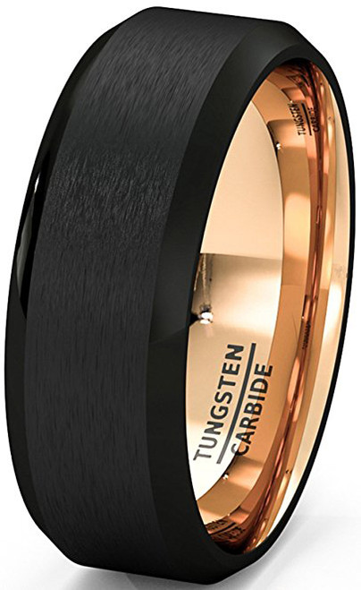 8mm Unisex Or Mens Tungsten Wedding Band Black Matte
