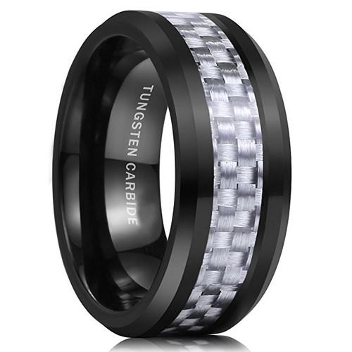 8mm Unisex Or Mens Tungsten Wedding Band Black Ring