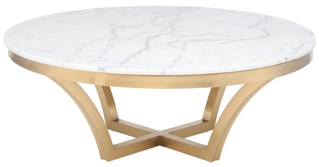 nuevo aurora coffee table in brushed gold base and white marble top