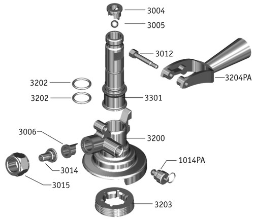 Keg Couplers | Product Diagrams, 'A' System Exploded View