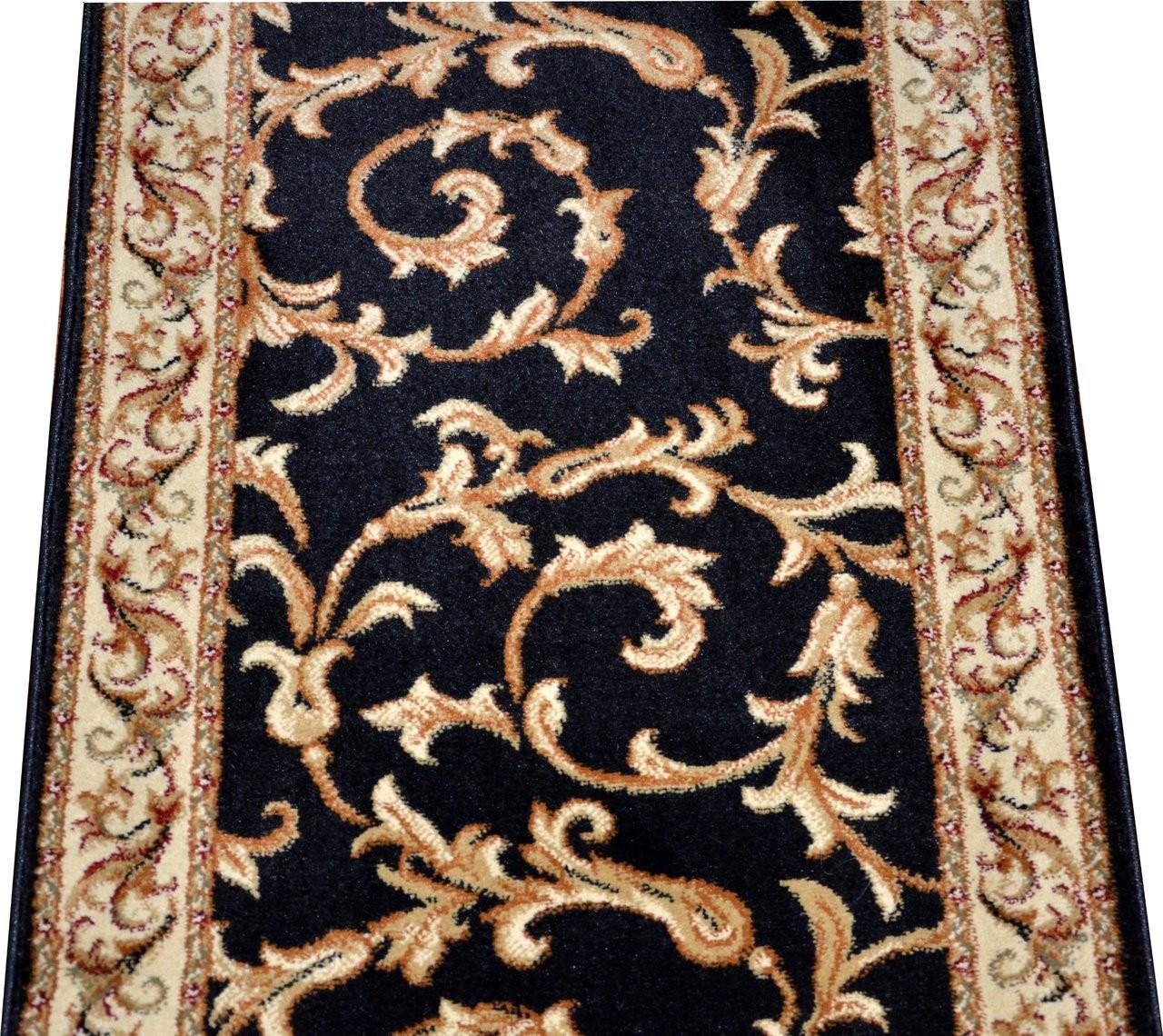 Dean Black Scrollworks Custom Length Carpet Rug Hallway   Carpet Stair Runners By The Foot