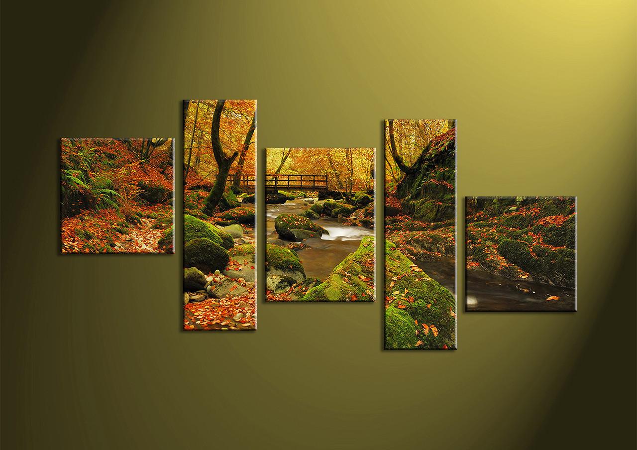 5 Piece Green Forest Canvas Print