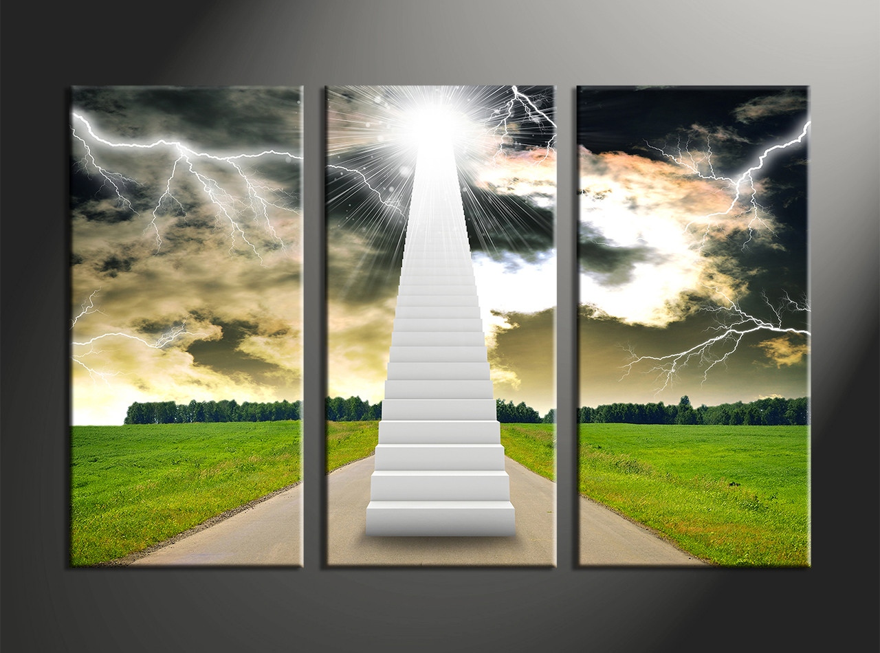 3 Piece White Stairs Landscape Canvas Wall Art