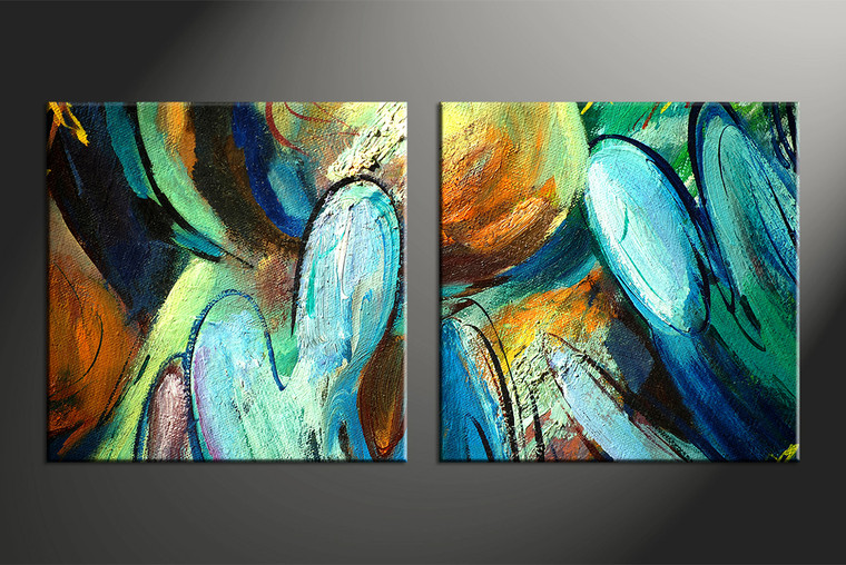 2 Piece Colorful Canvas Abstract Modern Oil Paintings Huge