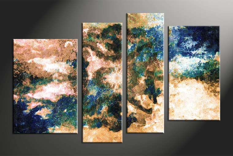 4 Piece Brown Abstract Modern Oil Paintings Canvas Art