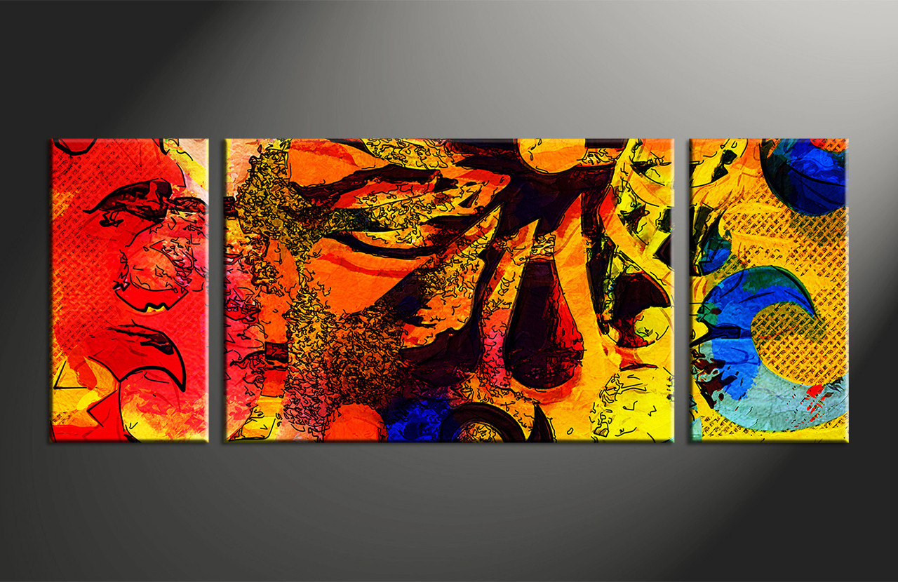 3 Piece Abstract Colorful Oil Paintings Large Canvas