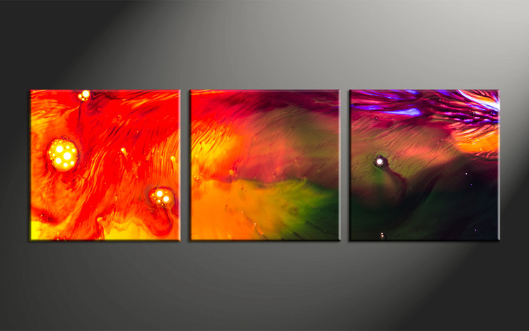 3 Piece Red Abstract Oil Paintings Canvas Photography