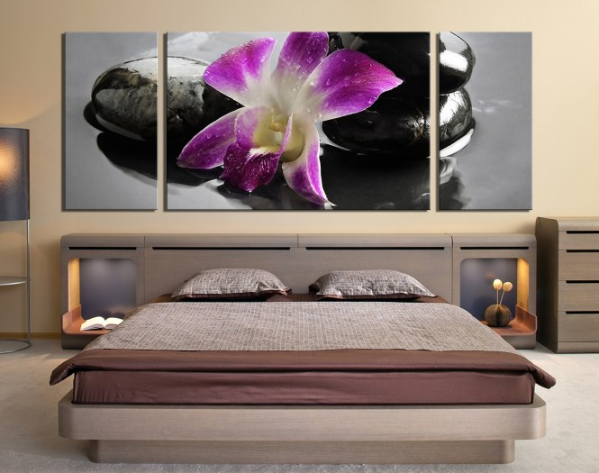 3 Piece Canvas Wall Art Bedroom Orchid Decor Purple Huge
