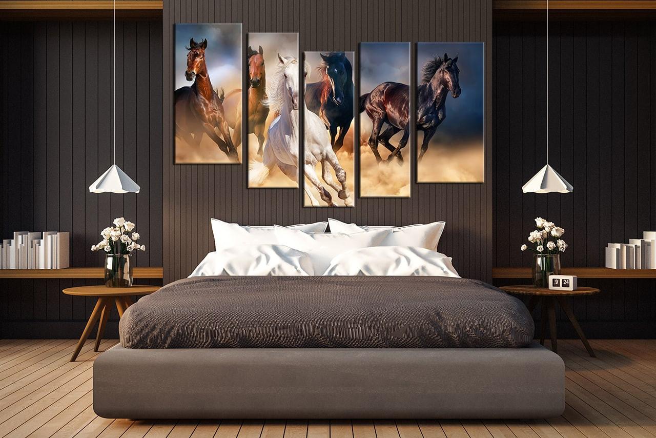 5 Piece Multi Panel Art, Horse Wall Decor, Animal Canvas