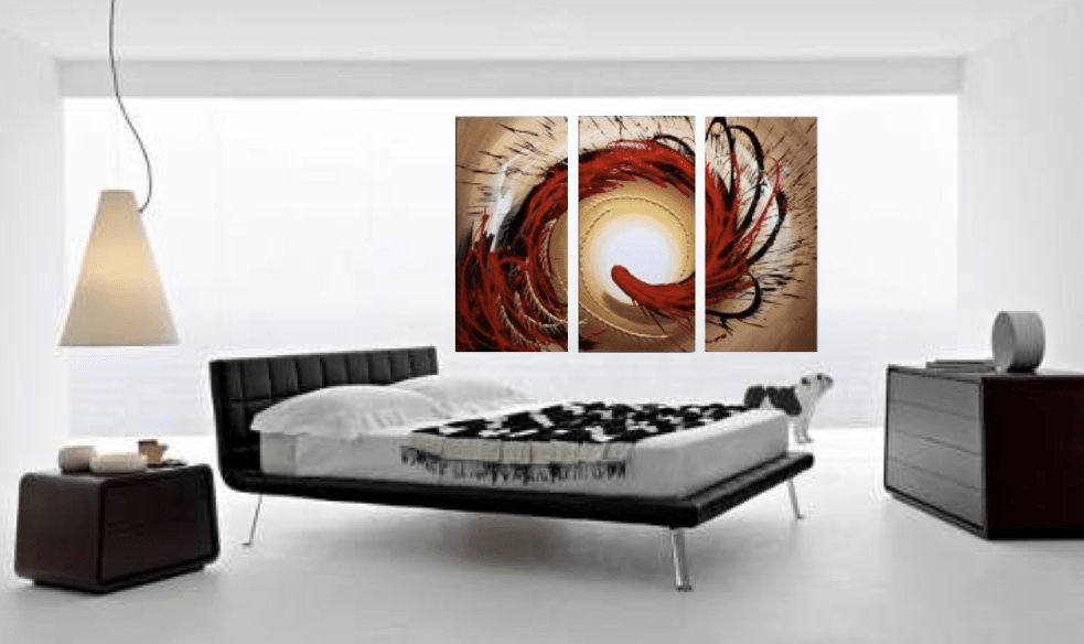 3 Piece Large Pictures, Abstract Contemporary Brown Multi