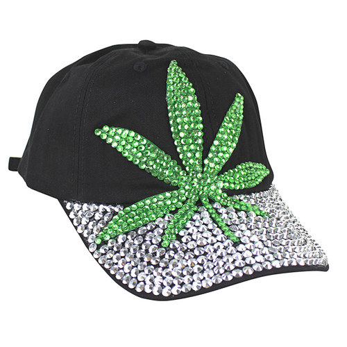 Image result for marijuana on cap in rhinestones