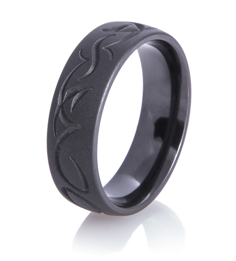 Tribal Matte Black Wedding Ring Matte Wedding Rings By