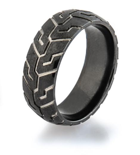 Mens Black Tire Tread Wedding Ring Titanium Buzz