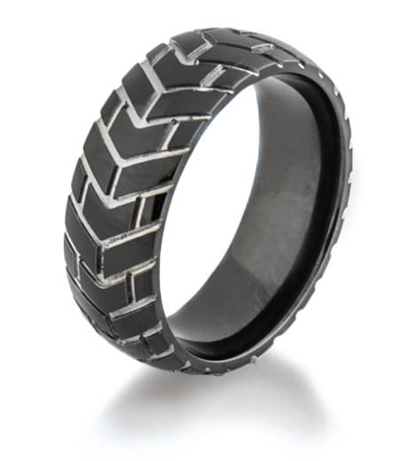 Mens Black Cycle 3 Motorcycle Ring Titanium Buzz