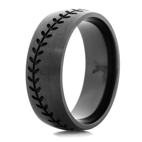 Mens Blacked Out Baseball Wedding Band Titanium Buzz