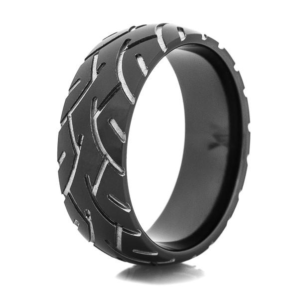 Mens Black Super Slick Tire Tread Ring Titanium Buzz