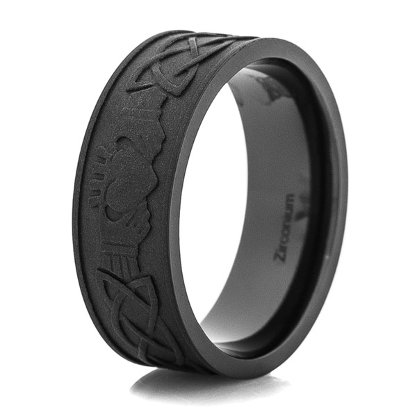 Mens Blacked Out Claddagh Ring Titanium Buzz
