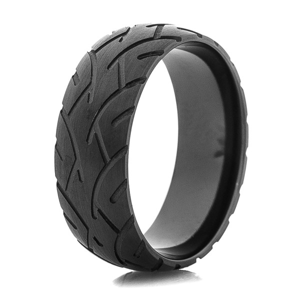 Mens Blacked Out Motorcycle Tread Ring Titanium Buzz