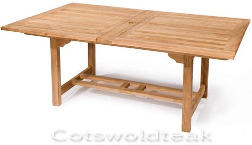 Teak Rectangular Extending Garden Table 180cm / 230cm X 110cm