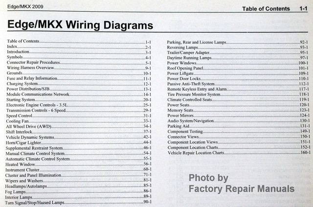 2009 Ford Edge & Lincoln MKX Electrical Wiring Diagrams