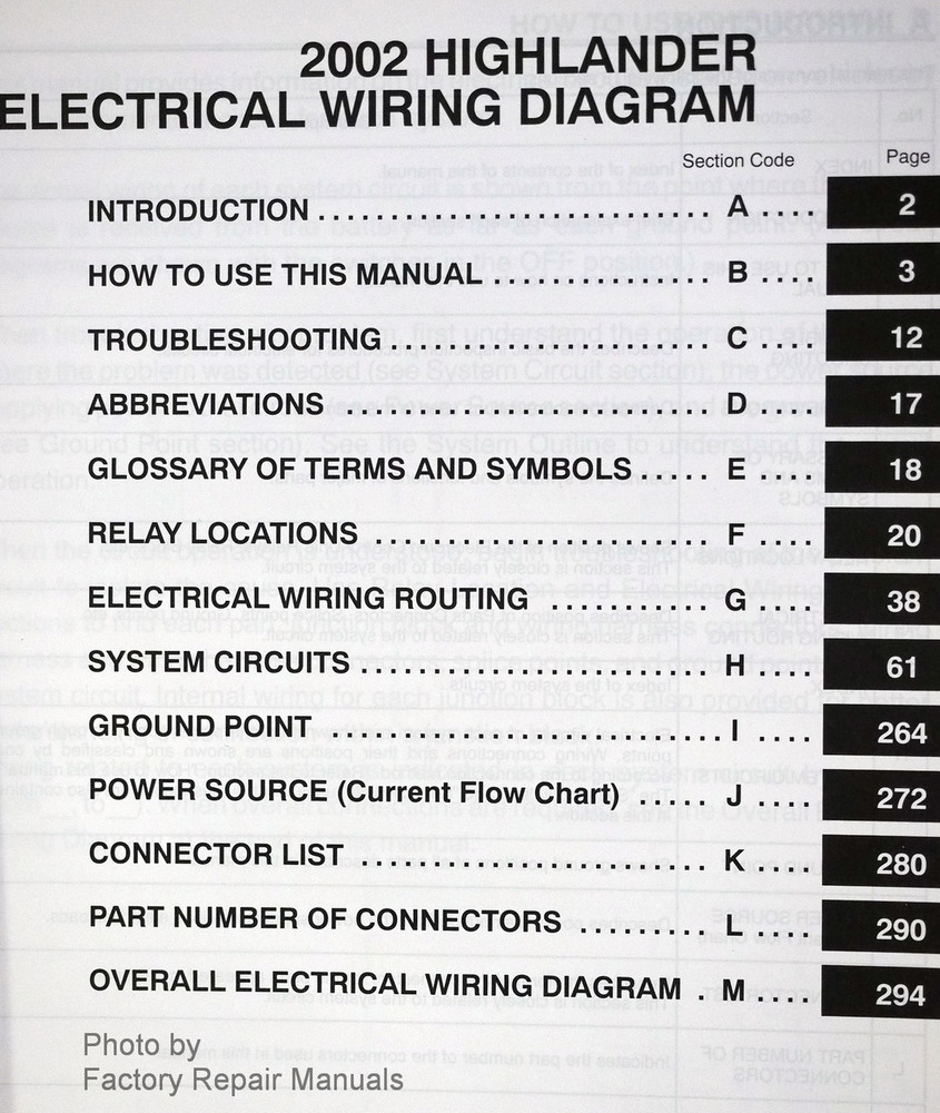2002 Toyota Highlander Electrical Wiring Diagrams Original