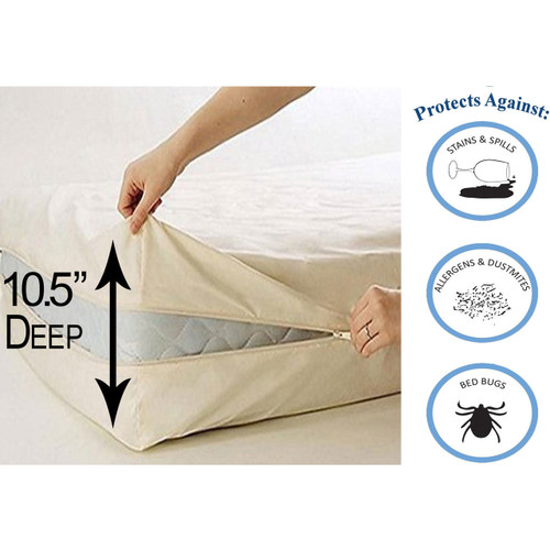 Deluxe Vinyl Zippered Mattress Protector Cover Extra Heavy
