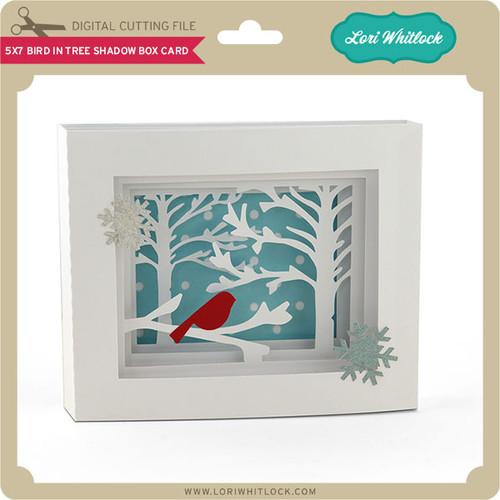 5x7 Bird In Tree Shadow Box Card Lori Whitlocks SVG Shop