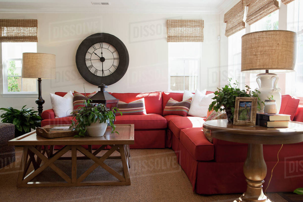 contemporary living room with red sectional sofa and large wall d145 200 884