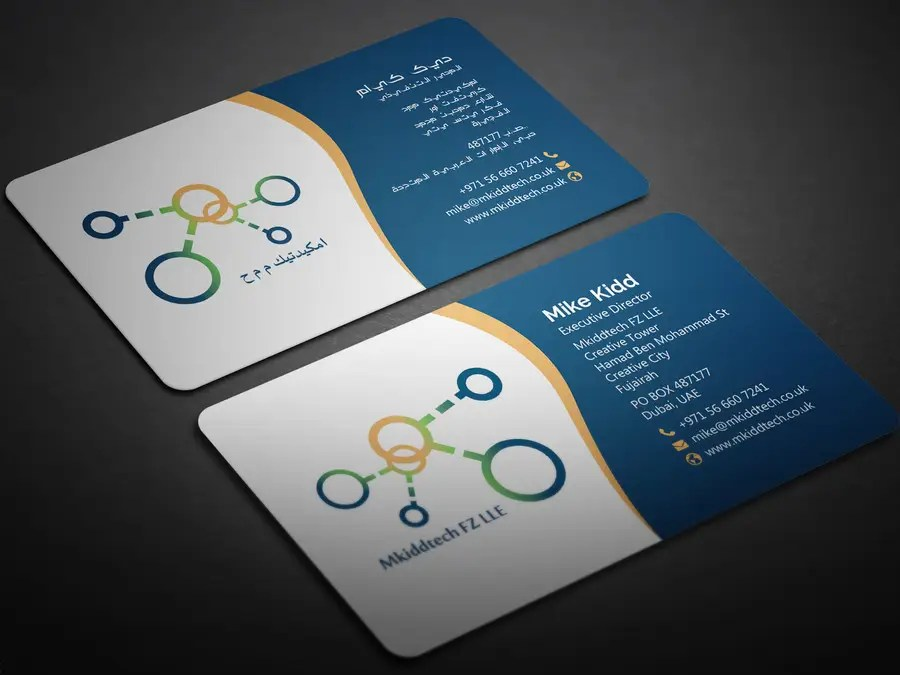 Design A Business Card Template For Mkiddtech FZ LLE In English And Arabic Freelancer