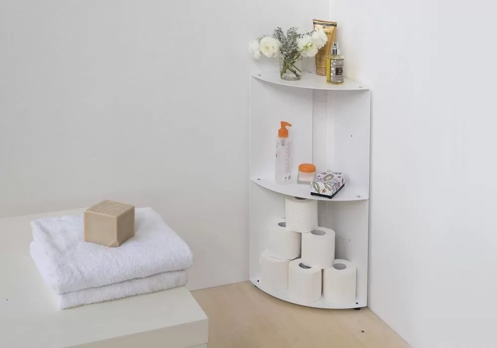 Bathroom corner shelf DANgolo - Steel - 25x25x70cm on Bathroom Corner Shelf  id=36205