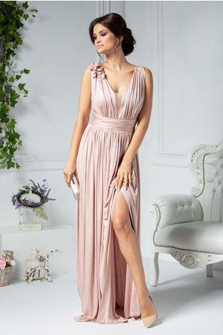 Rochie Ladonna Raysa lunga de seara roz metalizat