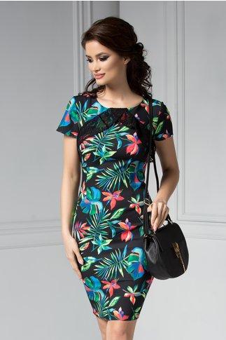Rochie Moze Aysha neagra conica cu imprimeu tropical