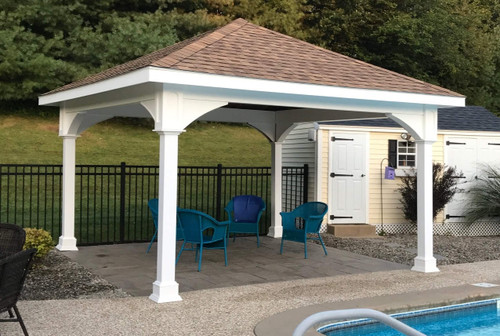 White Vinyl Pavilion Kits Gable And Hip Roofs Any Size