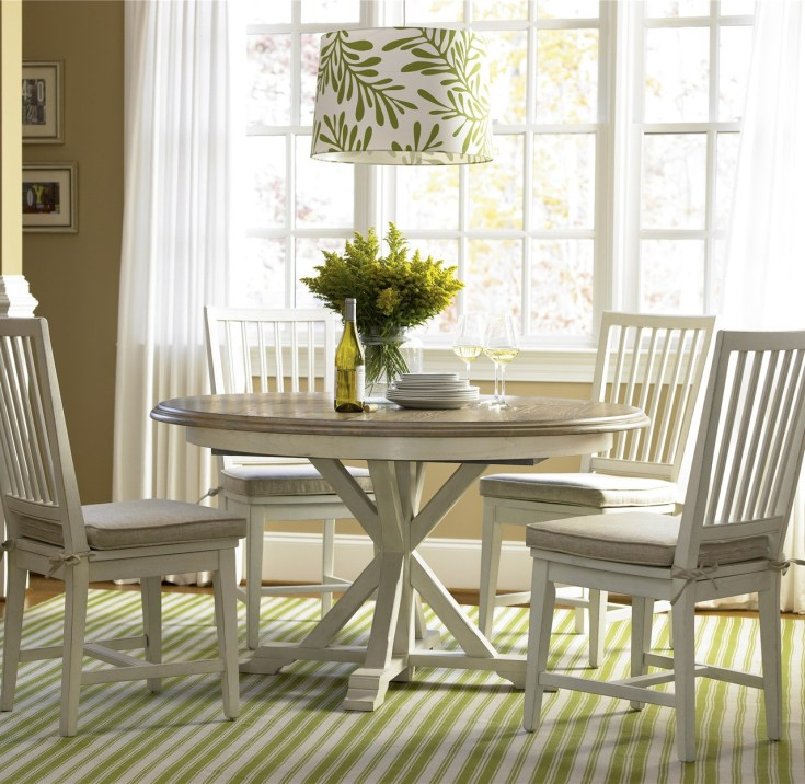 coastal beach white oak round expandable dining table 54"