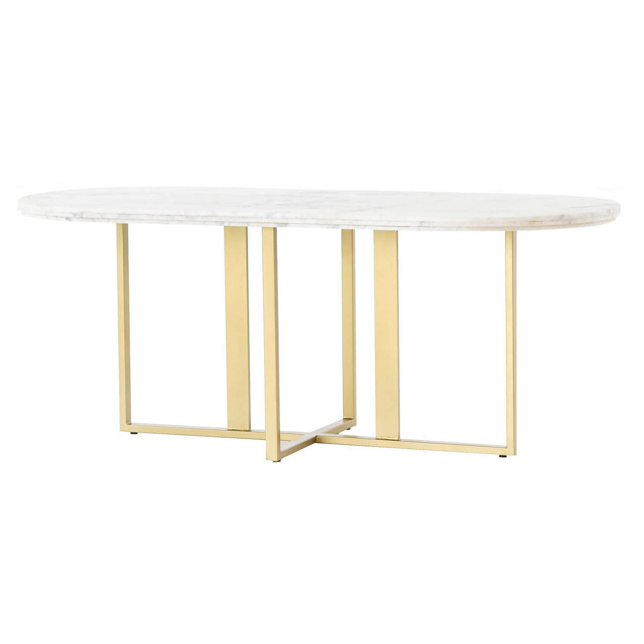 Torino Brass Leg White Marble Oval Dining Room Tables 74