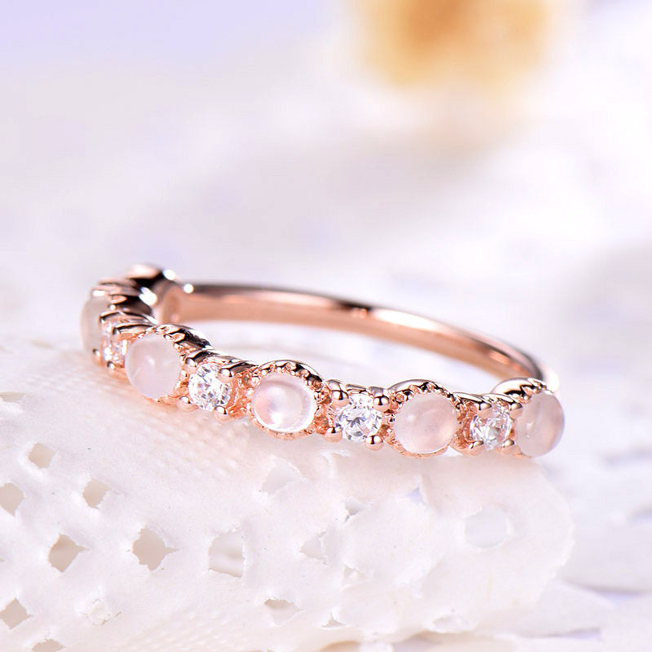 Moonstone Wedding Band Rose Gold Moonstone Ring Jewelry Bbbgem