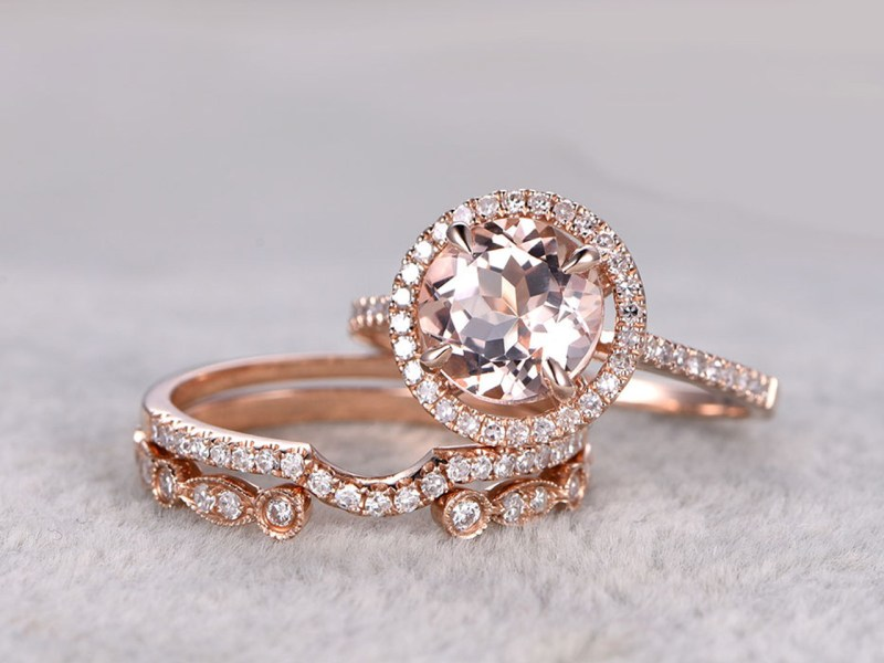 3pcs Morganite Rose Gold Wedding Set Diamond Eternity Ring 8mm Round     Morganite Engagement Ring White Gold