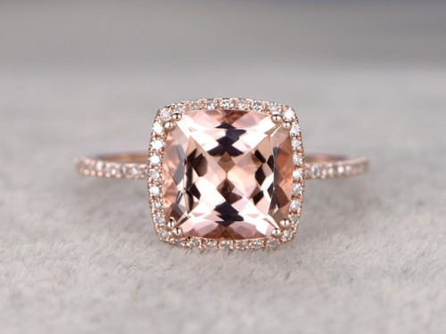 9mm Big Cushion 3 Carat Morganite Engagement Ring Diamond