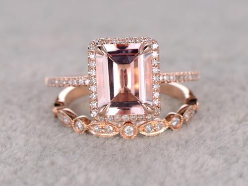 25 To 3 Carat Emerald Cut Morganite Engagement Ring Set