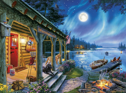 Darrell Bush Moonlight Lodge 1000pc Jigsaw Puzzle By Buffalo Games